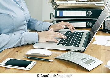 ordinateur portable, travail, bureau