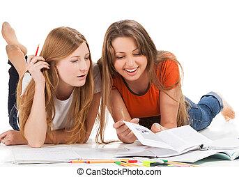 ordinateur portable, travail, deux, jeune, étudiant, girl, heureux