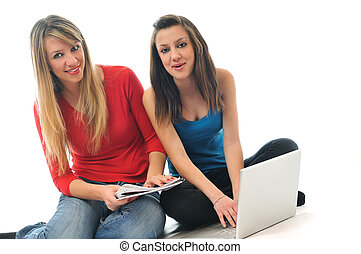 ordinateur portable, travail, filles, jeune, isolé, deux