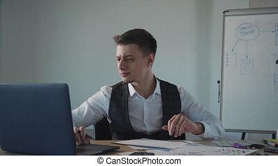 ordinateur portable, utilisation, page, nouveau, site web,...