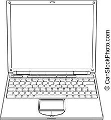 ordinateur portable, vecteur, contour, illustration