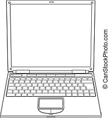 ordinateur portable, vecteur, contour, illustration
