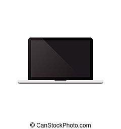 ordinateur portable, vecteur, fond, illustration, blanc