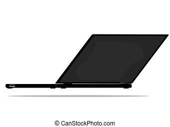 ordinateur portable, vecteur, isolé, fond, blanc