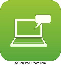 ordinateur portable, vert, numérique, bulle discours, icône