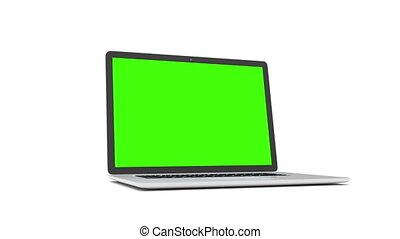 ordinateur portable, vert, screen.