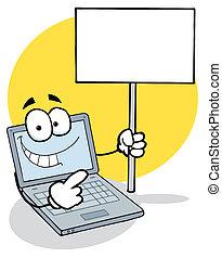 ordinateur portable, vide, tenue, signe