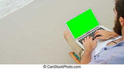 ordinateur portable, vue, élevé, utilisation, homme, 4k, ...
