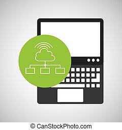 ordinateur portable, wifi, technologie, connexion, nuage