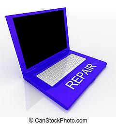 ordinateur portatif, à, mot, réparation, sur, il