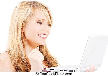 ordinateur portatif, adolescente