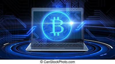 ordinateur portatif, bitcoin, hologramme