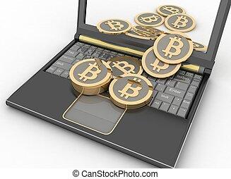 ordinateur portatif, bitcoins