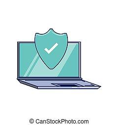 ordinateur portatif, bouclier, protection