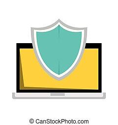 ordinateur portatif, bouclier