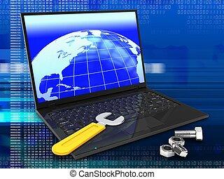 ordinateur portatif, fou, clé, 3d
