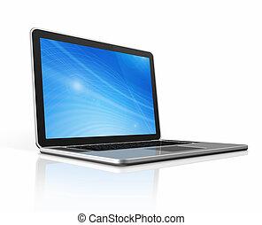 ordinateur portatif, isolé, blanc