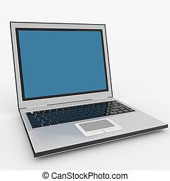 ordinateur portatif, isolé, white.