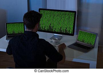 ordinateur portatif, séance homme