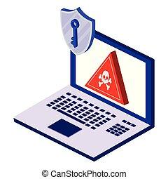 ordinateur portatif, sécurité, bouclier