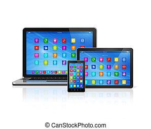 ordinateur portatif, smartphone, tablette, numérique