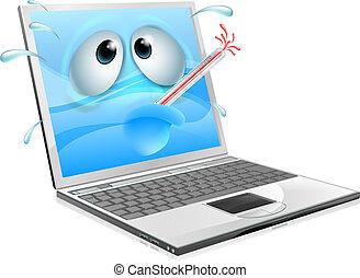 ordinateur portatif, virus, indisposé, dessin animé