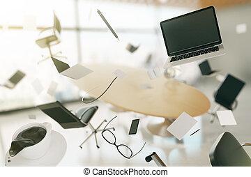 ordinateurs, chaises, café, concept, voler, bureau, moderne, chaos, accessoires, lunettes