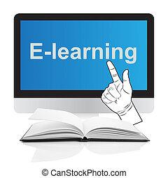 ordinateurs, e-apprendre, concept, livres
