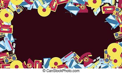 ordinateurs, enregistreurs, vieux, disques, tv, téléphones, résumé, consoles, vinyle, ensembles, jeu, 80, cassette, 90, vendange, 70, bande, électronique, technologie, cadre, retro