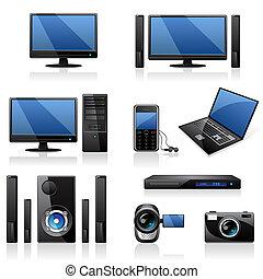 ordinateurs, et, électronique, icônes