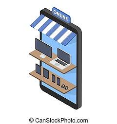 ordinateurs, gadgets, isométrique, concept, achats, étagères, mobile, ligne, portables, téléphone, electronics., smartwatches, tablettes, magasin, front.