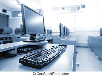 ordinateurs, lieu travail, salle