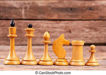 ordine, decreasing., bianco, pezzi gioco scacchi