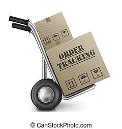ordine, inseguimento, scatola cartone, autocarro mano