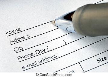 ordine, riempire, nome, forma, indirizzo