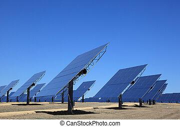 ordna, av, photovoltaic, paneler, av, a, sol kraftstation