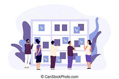 ordre du jour, concept., business, gestion, gens, mâle, planification, femme, temps, travail, rendez-vous, plat, goals., caractères, schedule., assigner
