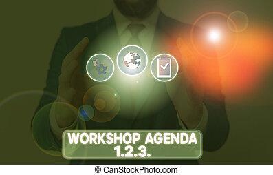 ordre du jour, ensure, concept, atelier, mot, reste, écriture, 123., texte, business, schedule., événement, aide