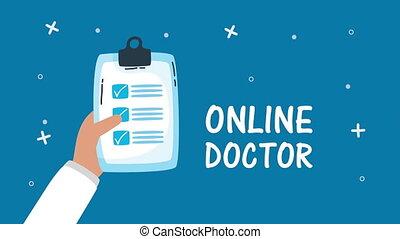 ordre, ligne, lettrage, liste contrôle, docteur