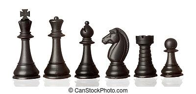 ordre, morceaux, noir, échecs, diminuer
