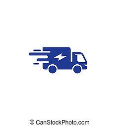 ordre, service, mouvement, livraison, jeûne, vecteur, camion, expédition, rapide, icône