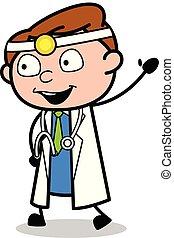 ordstäv, läkare, -, illustration, hand, vektor, professionell, hej, tecknad film, gest
