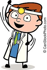 ordstäv, läkare, -, illustration, hand, vinka, vektor, professionell, hej, tecknad film