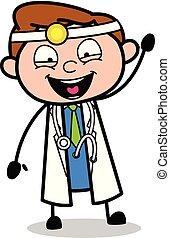 ordstäv, vektor, läkare, -, illustration, hej, professionell, tecknad film