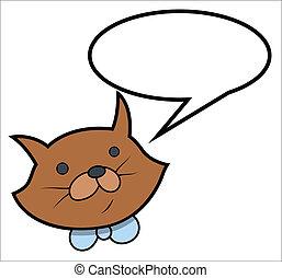 ordstäv, vektor, -, tecknad film, katt