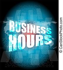 ore affari, su, digitale, schermo tocco