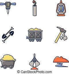 Ore mining icons set, cartoon style