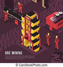 Ore Mining Process Isometric Illustration