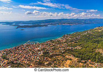 Orebic town in Croatia - Helicopter aerial shoot of famous ...