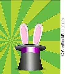 orecchi coniglio, apparire, da, il, magia, cilindro